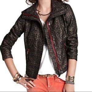 FREE PEOPLE Leopard Pop Moto Jacket grey red 6